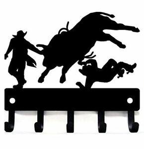 Cowboy Bull Rider Rodeo Clowns - Key Rack Hooks/ Hanger - Lg 9in -Made in USA