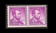 US 1058 Abraham Lincoln 4c coil pair MNH 1958
