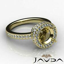 Halo Diamond Engagement 0.8ct Round Semi Mount Filigree Ring 14k Yellow Gold