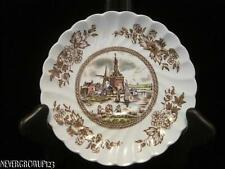 JOHNSON BROS TULIP TIME SAUCER~HOLLAND WINDMILL~BROWN & MULTICOLOR TRANSFERWARE~