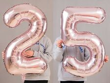 "25th Birthday Party 40"" Foil Balloon HeliumAir Decoration Age 25 Rose Gold lite"