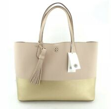 Tory Burch Color Block Perry Tote in Light Oak/gold Leather