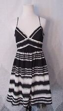 BCBG MAX AZRIA Black White Cocktail Pleated Sequin Skirt Mesh Trim Dress Sz 6