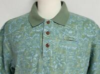 Orvis Mens sz L Green Blue Floral Geometric Short Sleeve Polo Shirt