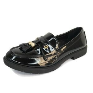 Truffle Collection Black Patent Leather Tassel Slip On Penny Loafers 9 US 40 EU