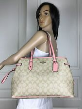 COACH KHAKI SIGNATURE PVC PALE PINK LEATHER CARRYALL TOTE SHOULDER BAG PURSE
