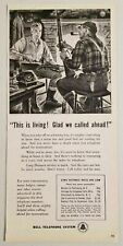 1955 Print Ad Bell Telephone Hunters in Cabin with Rifles Smoking a Pipe