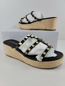 Olivia Miller Espadrille Sandals Women's Studded wedges Slip on 9M Black Gold