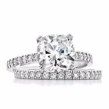 2.81 Ct Cushion Cut Diamond Ring Set W Matching Wedding Band Engagement Platinum