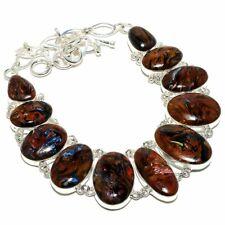 """Golden Pietersite Gemstone Handmade 925 Sterling Silver Necklace 18"""""""