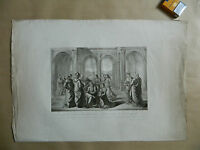 Antique Large Engraving Xixth Zechariah Writes Than The Son Be Called Jean 1820