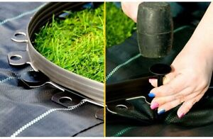 GARDEN LAWN 10M FLEXIBLE EDGING PLASTIC WITH 20 PEGS GRASS FLOWER BED TIDY PATH