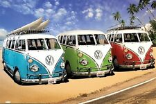 VW Bus California Campers at Surf Beach Poster Art Print 24x36