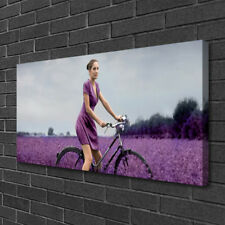 Canvas print Wall art on 100x50 Image Picture Woman Bicycle Meadow People