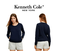 Kenneth Cole Women's Navy Blue Terry Crewneck Pullover Sweater Pockets NWT
