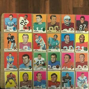 24 DIFF1969 TOPPS FB CARDS-GABRIEL,DeLONG,JOHNSON,MORRISON