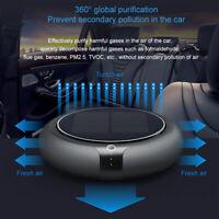 Portable Solar Power Car Air Purifier Home Negative Ions Air Cleaner + USB