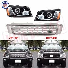 LED Headlights With Grille For 2001-07 Toyota Highlander Kluger Land Rover Style