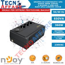 Gruppo di Continuità UPS Line Interactive 650VA 360W AVR USB 3Schuko Njoy Renton