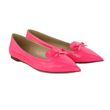 Valentino Fluro Pink Patent Leather Pointed Toe Flats Ballerinas Shoes IT38.5