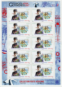 France 2017 MNH WWI WW1 Georges Guynemer Ace 10v M/S Aviation Military Stamps