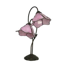 LOTUS 2GL PINK TIFFANY STYLE BED/TABLE LAMP LEAD LIGHT -WILL SHIP AUSTRALIA WIDE