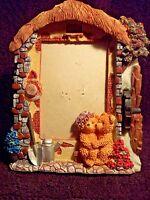 "Whimsical ~ Teddy Bear And Cottage  Resin Photo Frame For 3.5"" X 5"" Photos"