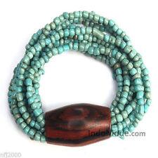 Rustic Turquoise Beaded 10-Strand Stretchable Bracelet w/ Large Hard Wood Bead