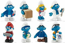COLLECTION FULLY SET 8 SMURFS SMURF 2015 TRADES SCHLEICH NEW