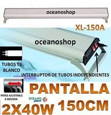 PANTALLA 150CM 2X40W REGULABLE ACUARIO LUZ BLANCA 2 TUBO T8 PECERA FLUORESCENTE