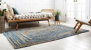 """2x3""""Indian Handmade Handwoven Ribbed Solid Area Rug Natural Jute Rectangle Rug"""