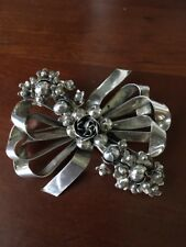 Pin 34 grams 2.75 Inches Hobe Sterling Silver Floral Bow