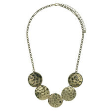 Burnished & Hammered Bronze Disk Statement Bib Necklace - FAST SHIP FROM USA