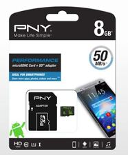 8GB PNY MICRO SD SDHC MEMORY CARD FOR SAMSUNG GALAXY S5/S4/S3/S6/S7 EDGE 50mb/s