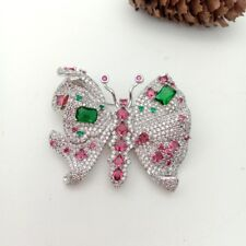 micro butterfly brooch 40x48mm gold plated Cz