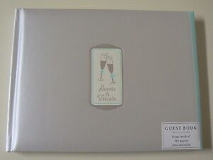 Hallmark GUESTS & FRIENDS GUEST BOOK #1WCA2117 NEW Wedding Champagne Glasses