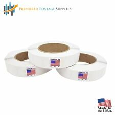 Three Pack Wafer Seals - 1 Inch White Circle Label, 2500 Tabs Per Roll
