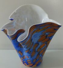 Czech Bohemian Spotted Color, Cased Glass Handkerchief Vase