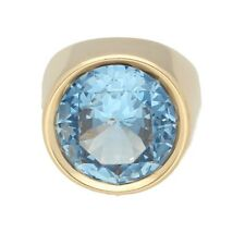 14Carat Yellow Gold Simulated Blue Topaz Solitaire Ring (Size M 1/2) 14mm Head