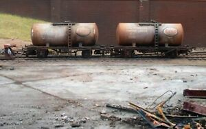 OO gauge abandoned Tankers, heavily rusted and weathered. Ref 3