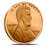 1909-S VDB Lincoln Cent Penny Design Round 1 Oz 999 Fine Copper Price Per Round!