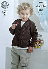 KNITTING PATTERN Boys Long Sleeve V-Neck Cable Cardigan DK King Cole 4149