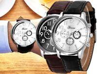 Armbanduhr Herrenuhr Exklusiv Uhr Analog Quarz Leder Blogger Geschenk Silber