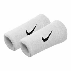 NIKE Dri-FIT DoubleWide Wristbands Reversable Pair White w/ Black Swoosh - New