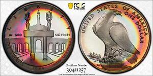 PR69DCAM 1984-S Silver Olympic LA Commemorative Dollar, PCGS Secure, Wild Toned