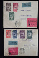 Ethiopia Stamps # C11-17 on 2 Flown Registered Covers