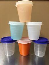 Tupperware Midget 2 oz Mini Bowl Pill Box Travel Container Blue/Orange/Clear Lid