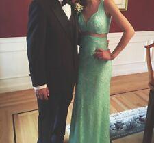 Long, Turquoise, Studded, Lace, La Femme Prom Dress.