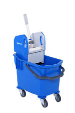 More details for 25l professional heavy duty kentucky mop bucket with wheels - blue