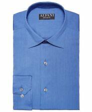 $82 Alfani 15-15.5 34/35 Men Regular-Fit Blue Long-Sleeve Button Top Dress Shirt